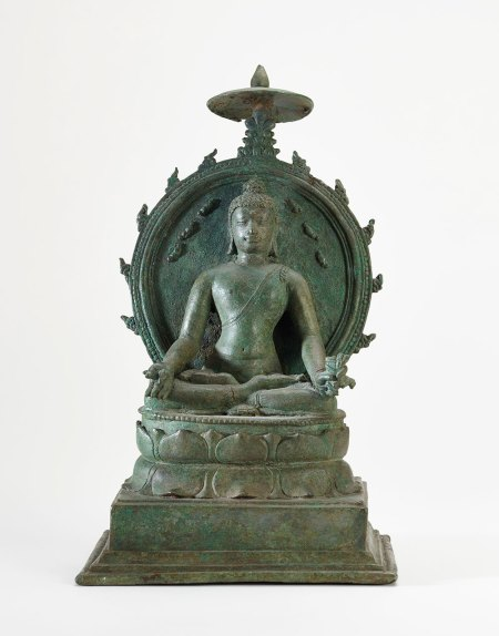 bronze buddha sculpture with a seated buddha, hands on his knees