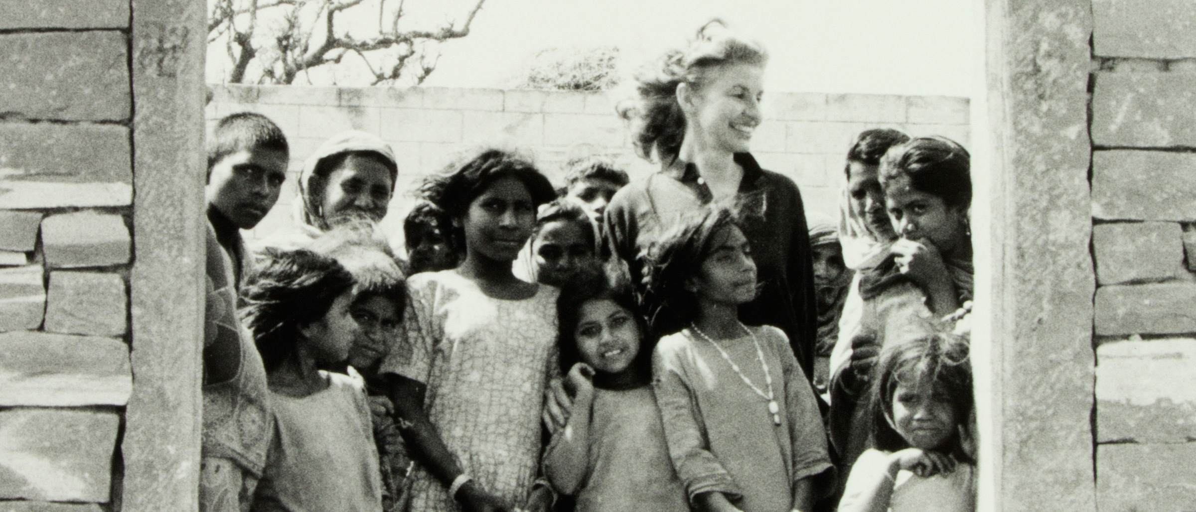 Moynihan's daughter with a group of children