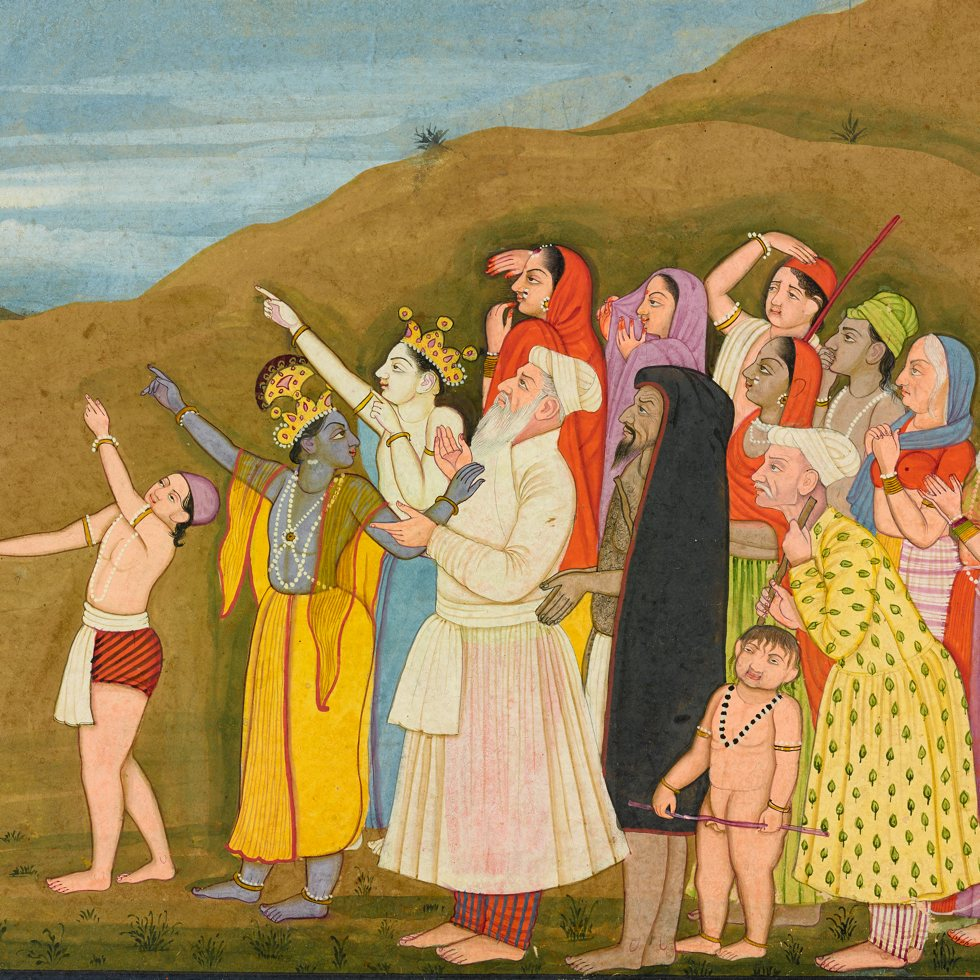 Krishna and his family admire a solar eclipse