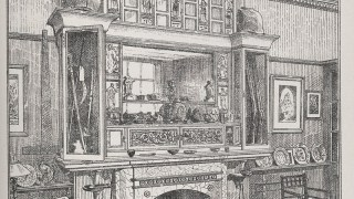 Drawing of a lavishly decorated mantel piece