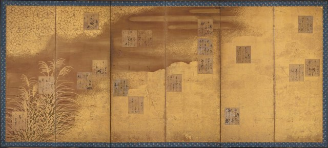 Folding Screens Mounted with Poem Cards from the Shinkokin wakashū (New Anthology of Poems Past and Present)