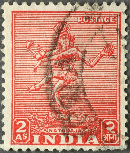 An Indian postage stamp depicting Shiva dancing