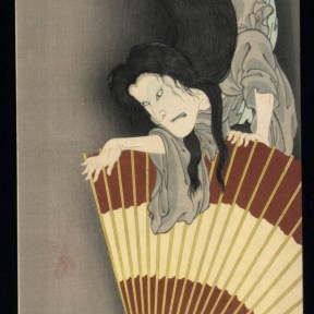 a ghost descends down onto a figure holding a fan