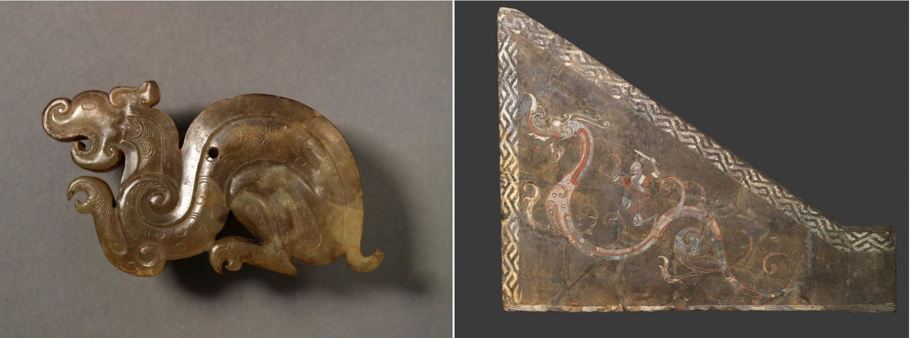 composite of two images. a dragon pendant on the left and an image of a dragon and warrior on the right