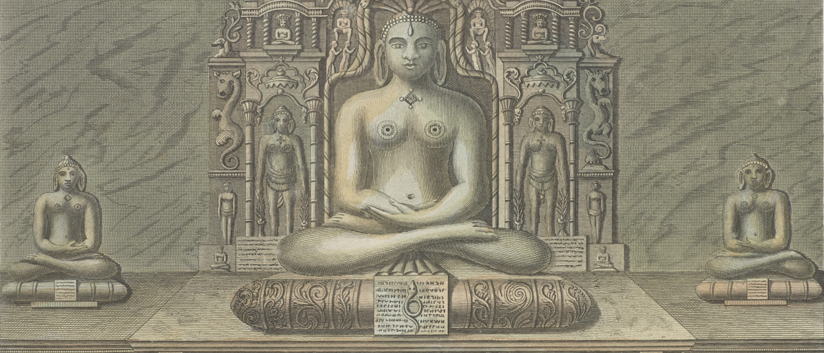 Print depicting a seated Hindu sculpture