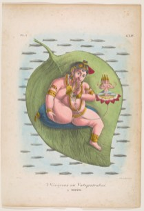 Color lithograph of Vishnu manifested as Narayana or Vatapatrasai.