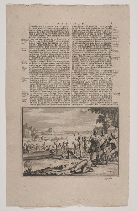 Page with plate depicting Indian pilgrims bathing in the river Ganges.