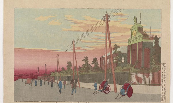 Telephone lines fade into a cloudy pink horizon along the road in front of the Paper Money Bureau.