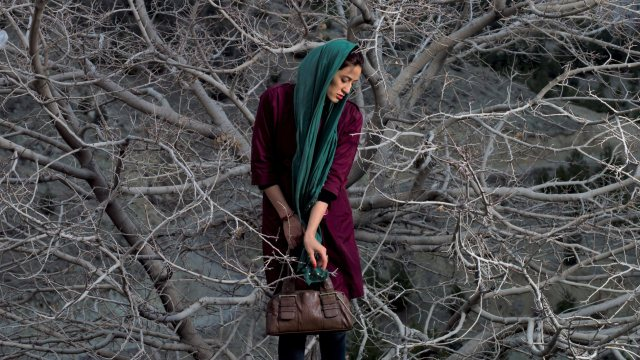 color photograph of a woman in burgundy top and green headscarf holding a brown purse glancing down and standing in front of leafless branches