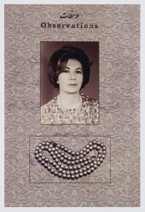 Necklace and woman with grey background