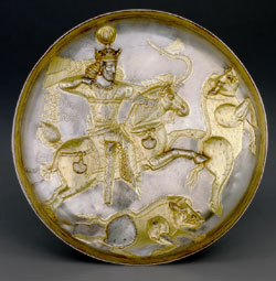 Gold and silver plate with mythological images