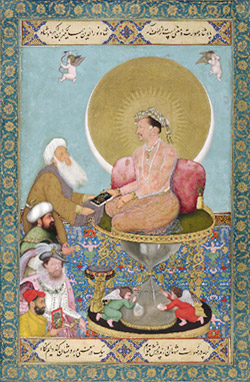 Jahangir Preferring a Sufi Shaikh to Kings by Bichitr (act. 1615–50) India, Mughal period, ca. 1660–70 Opaque watercolor, gold, and ink on paper 25.3 x 18.1 cm (10 x 7 1/8 in.) Purchase F1942.15a