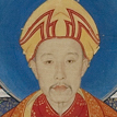 detail of illustration of emperor sitting in traditional chinese attire