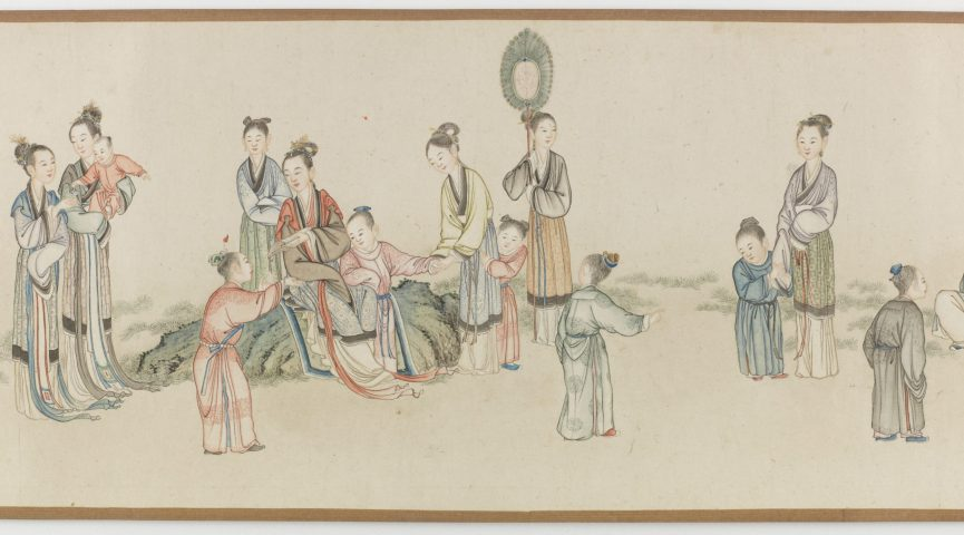 illustration of women and children playing