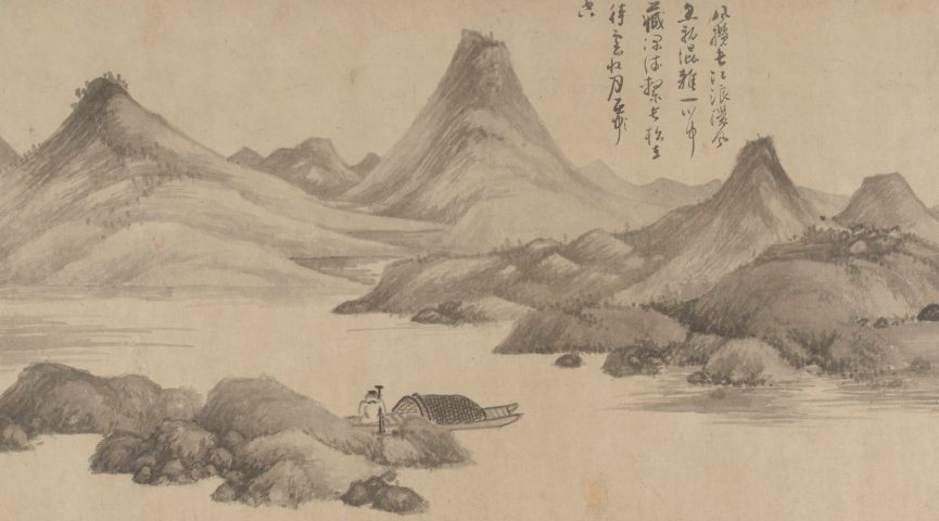 detail of a pen and ink handscroll with fisherman images