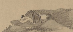 detail of an illustration showing a man sleeping in his boat
