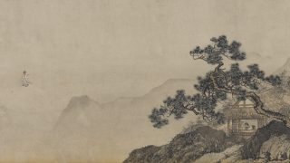 illustration of chinese landscape with a man looking out a window of a home