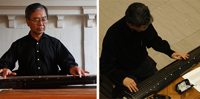 photos of 2 men playing a zither
