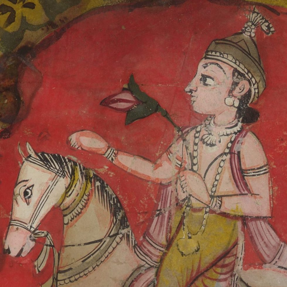 Painting fragment of an Indian prince with a flower in one hand riding a white horse, representing the planet of Venus.