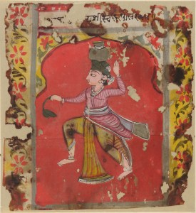 A figure representing the zodiac sign of Aquarius holds a pot on their head, and carries a branch in the other hand.