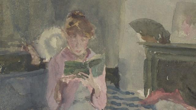 detail of a watercolor, a woman reading a book