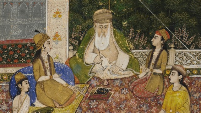 detail from a painting, people gathered around a teacher