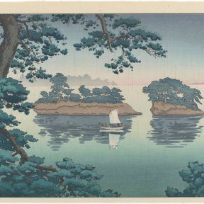 The sky is blue and pink as it drizzles over two islands at Matsushima, a sailboat in the water in front of them. The composition is framed by a lush pine tree in the foreground.