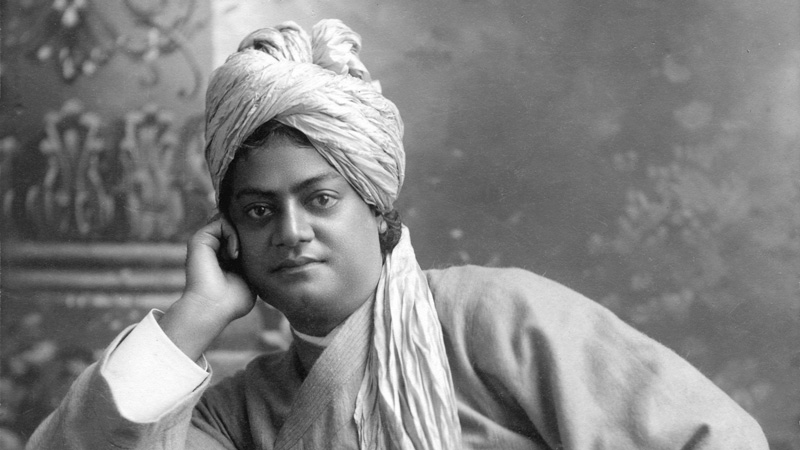 detail from a photo of swami vivekandand, in black and white