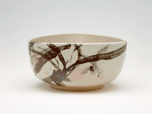 Bowl with orchid and mushrooms