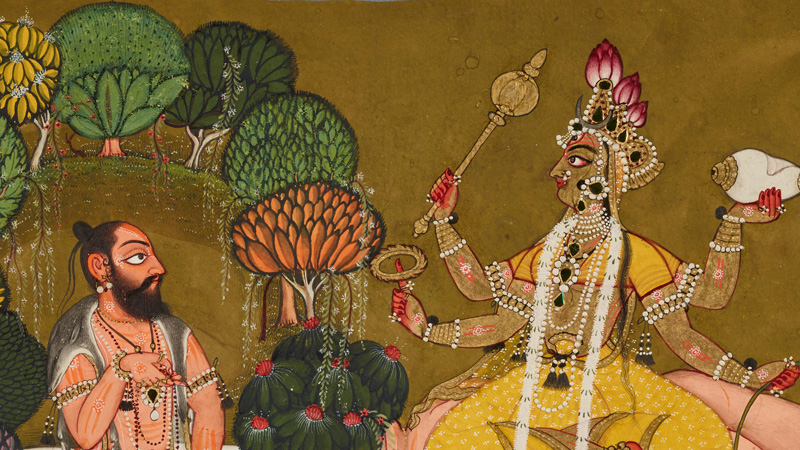 detail from a painting showing a bearded man facing a humanoid with a crown, scepter, strings of pearls
