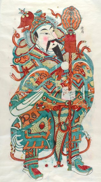 """One of a pair of """"Door Guardian"""" prints. This one portraying Jin Qiong. Freer Gallery of Art Study Collection, FSC-GR-627."""