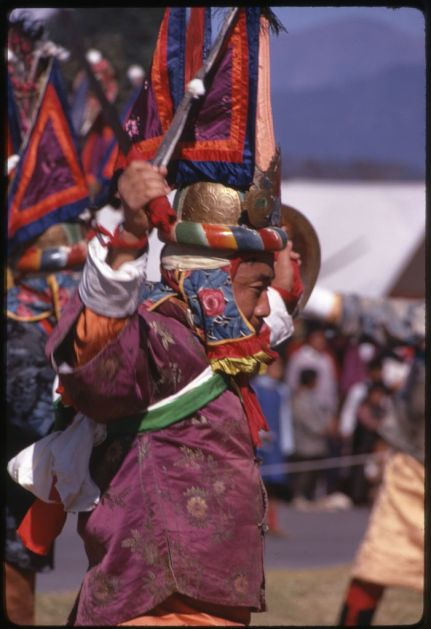 Kandell, Alice S, photographer. Warrior dancing at New Year's ceremony, Sikkim. Sikkim, India, January 1969. Photograph. https://www.loc.gov/item/2011646396/.