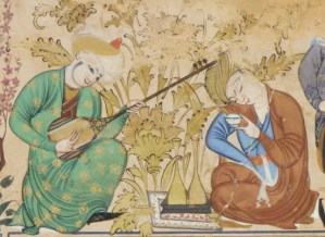 Detail of a color painting depicting a musician playing setār next to a figure drinking a cup of wine.