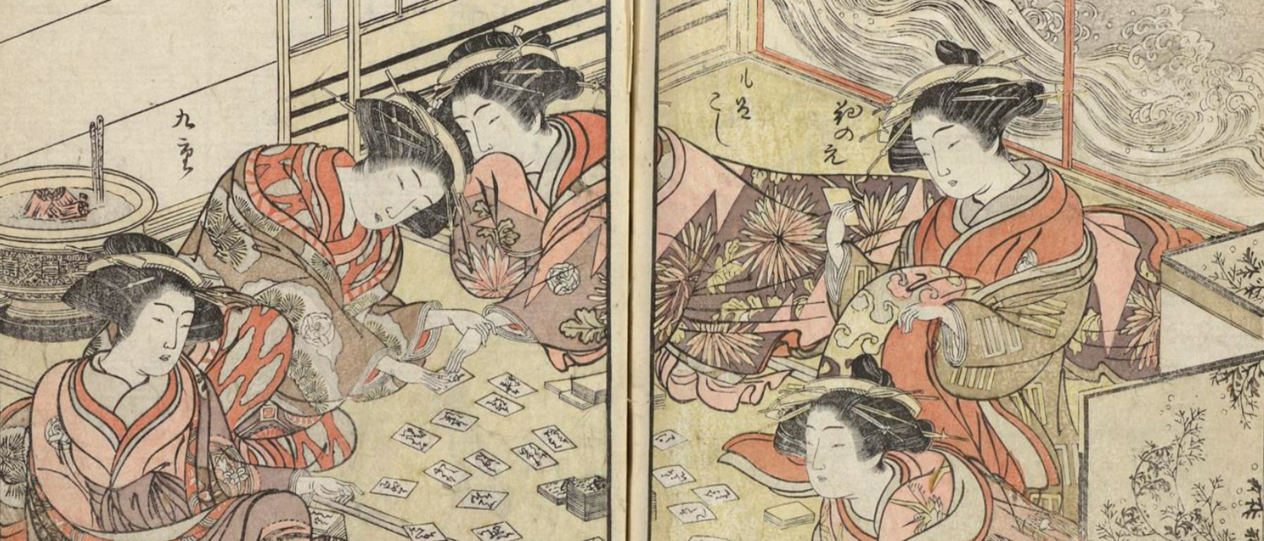 Wood-block printed image depicting several women wearing intricately patterned, layered kimono, and decadent hair updos, playing cards. The screen door or wall behind them depicts waves with birds flying above. Incense burns in the oposite corner. The image appears in hues of yellow, brown, orange, pink, light brown, and brownish purple.