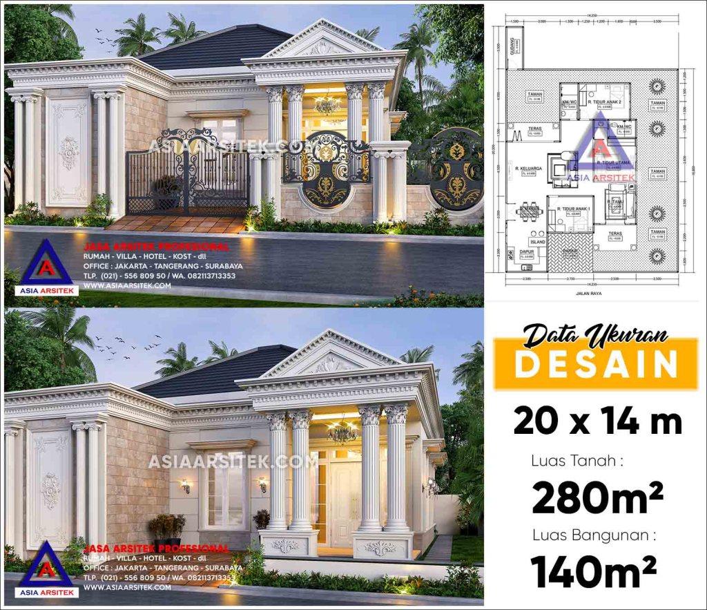Jasa Arsitek Desain Rumah Classic Mewah 1 Lantai Bu Nunung Di Cipondoh Kota Tangerang Banten
