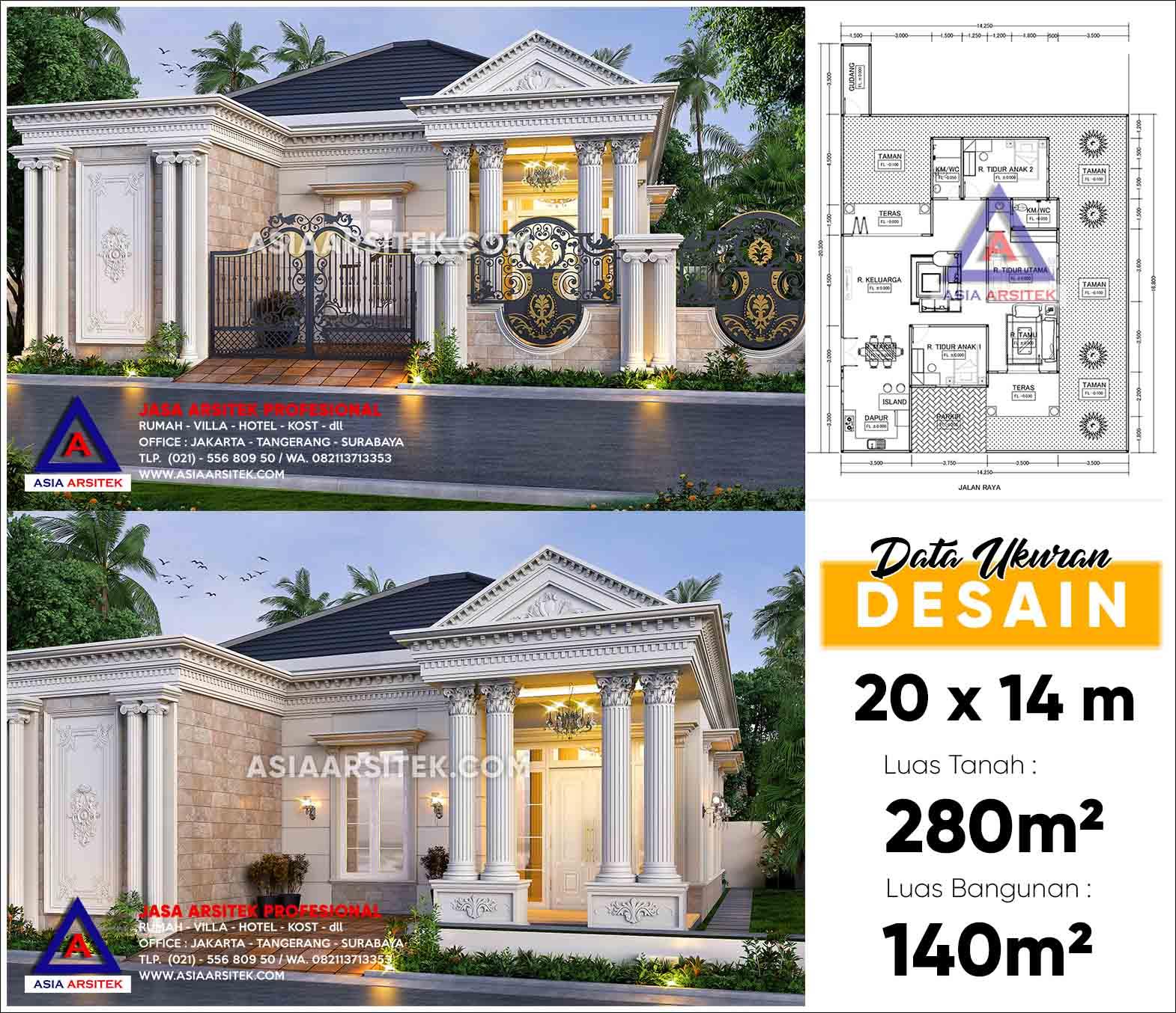 Jasa Arsitek Desain Rumah Classic Mewah 1 Lantai Cipondoh