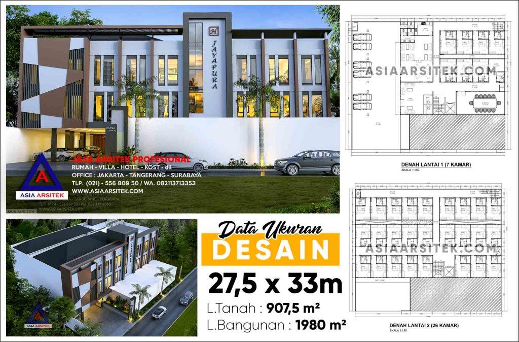 Jasa Gambar Desain Hotel Minimalis 3 Lantai Di Jayapura Papua