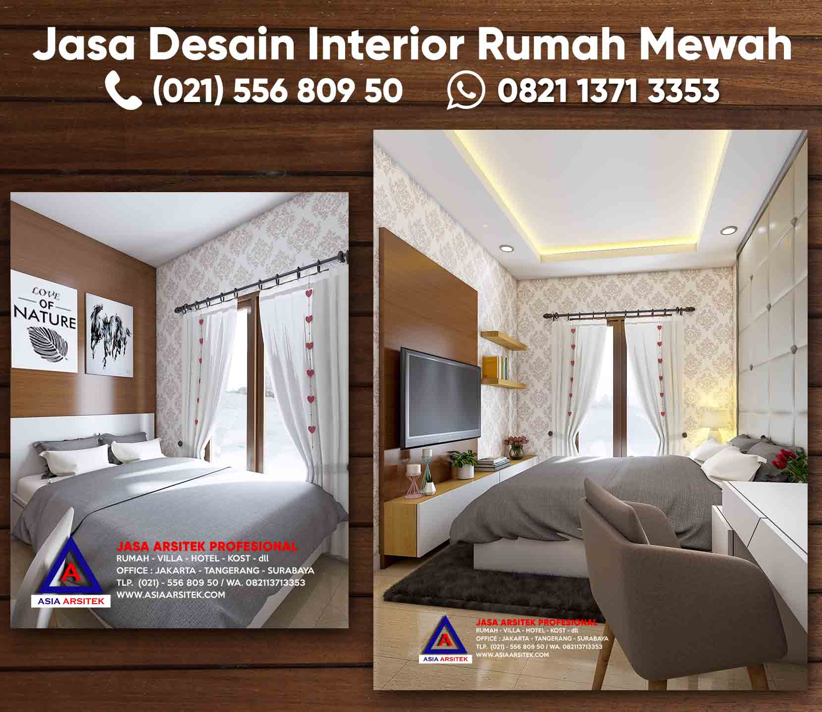Jasa Desain Interior Rumah Kamar Tidur Minimalis Modern Asia Arsitek