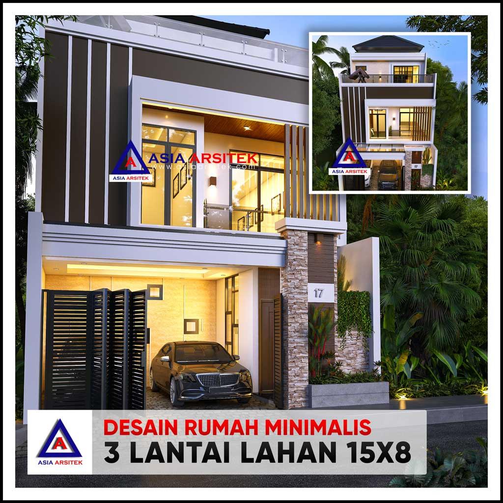 Desain Rumah Minimalis 3 Lantai di Lahan 15x8 Meter