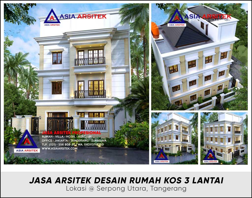 Jasa Arsitek Rumah Kost 3 Lantai di Tangerang Selatan