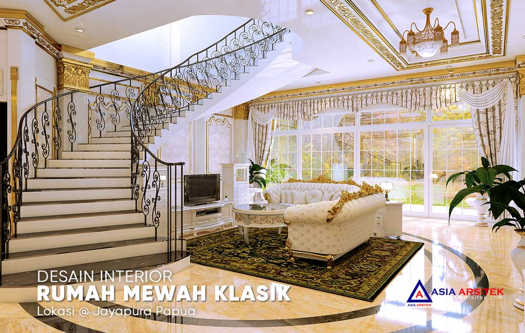 Desain Interior Ruang Tamu Mewah Rumah Klasik Di Jayapura Papua