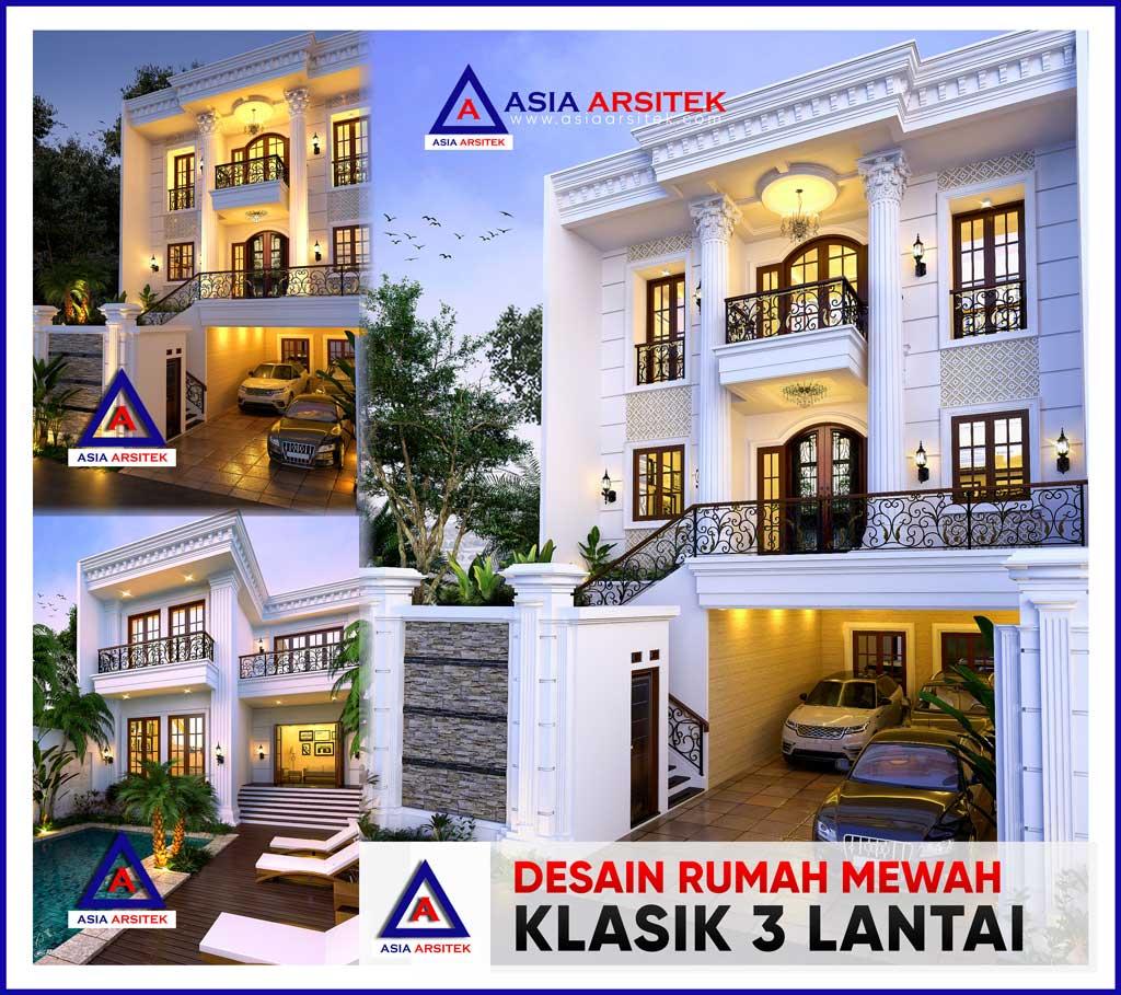 Desain Rumah Mewah Klasik 3 Lantai di Lahan 33,6x10 Meter