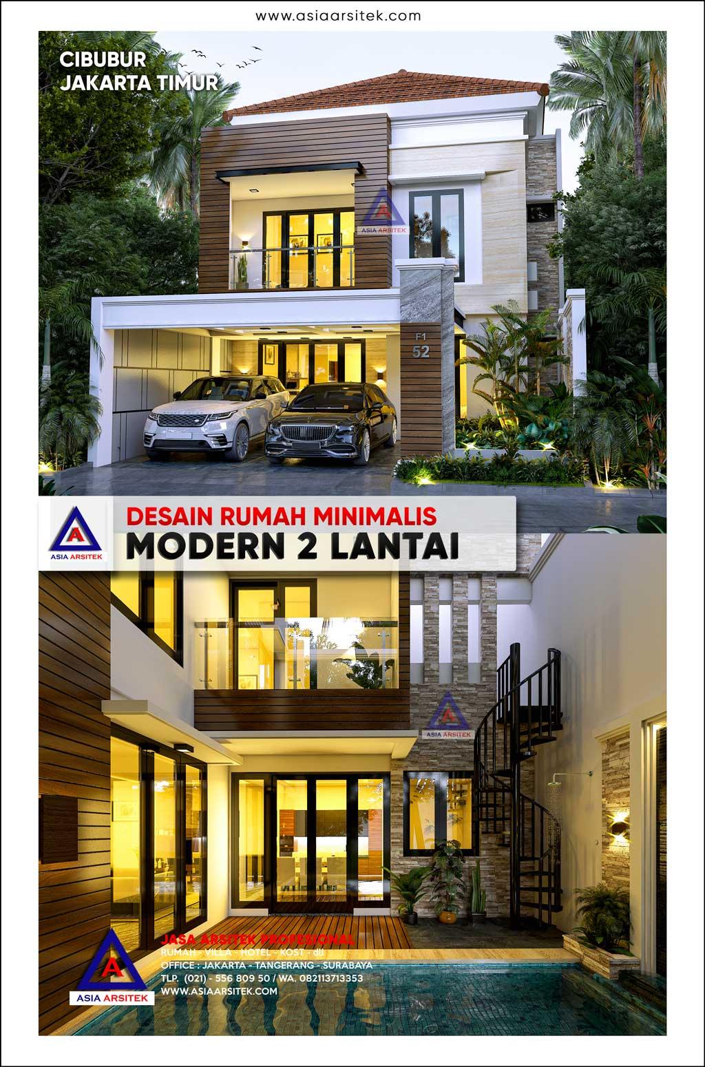 Desain Rumah Mewah Minimalis Modern 2 Lantai 20 X 9 M Di Cibubur