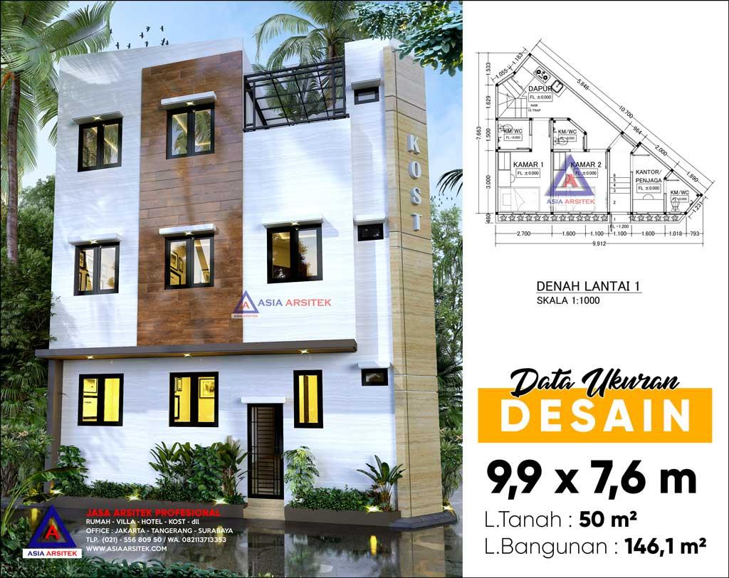 Jasa Arsitek Desain Rumah Kost 3 Lantai di Menteng Jakarta Pusat