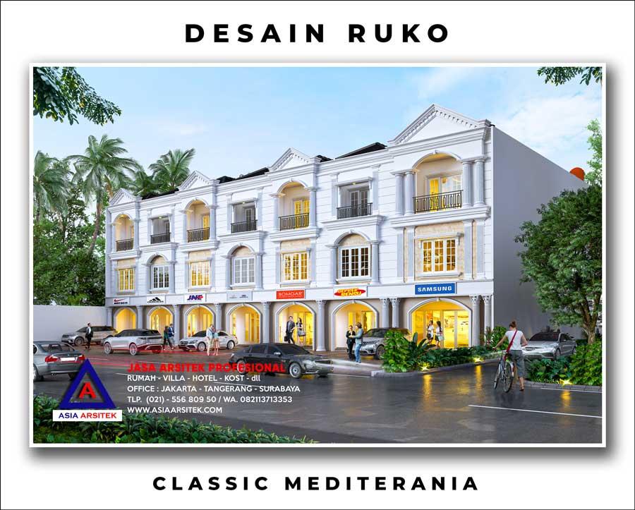 Desain Ruko Mewah Style Classic Mediterania 3 Lantai Di Papua