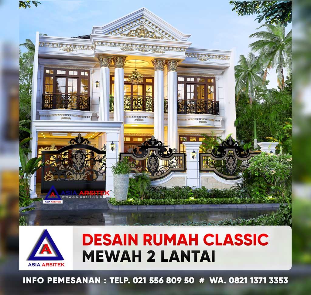 Desain Rumah Classic Mewah 2 Lantai 12 x 19 m di Kebayoran Lama Jakarta Selatan