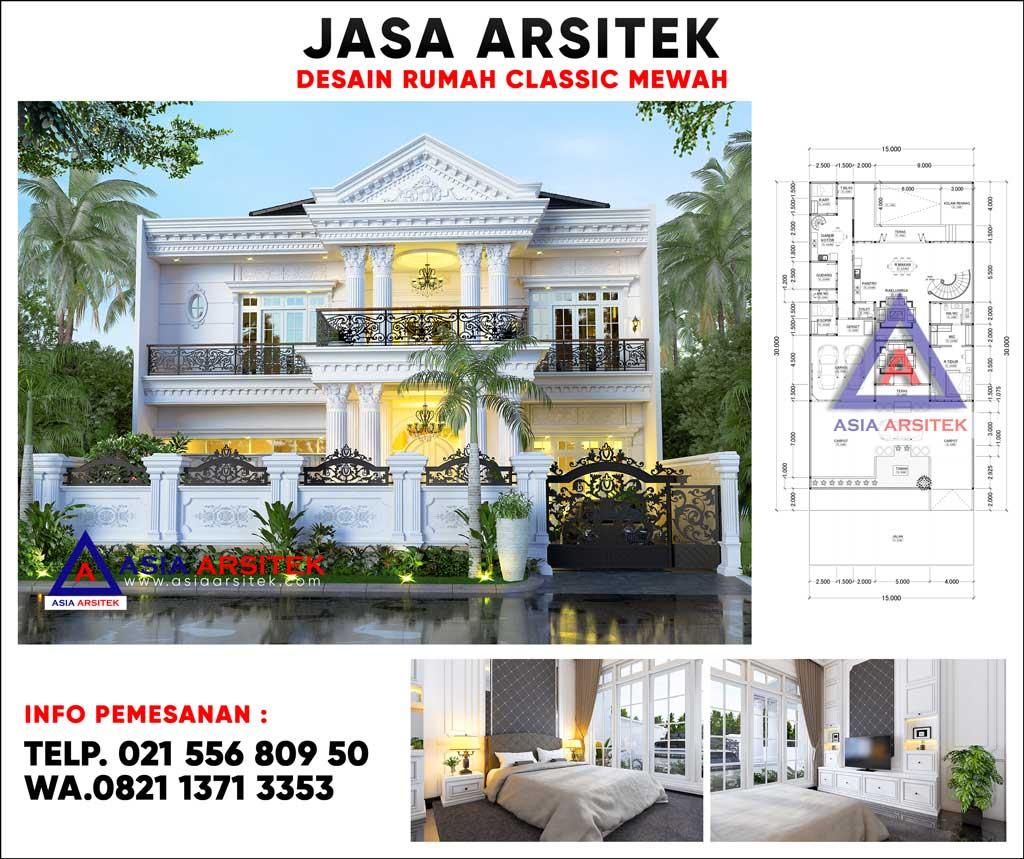 Desain Rumah Classic Mewah 2 Lantai Dengan Kolam Renang Di Bengkulu Sumatera