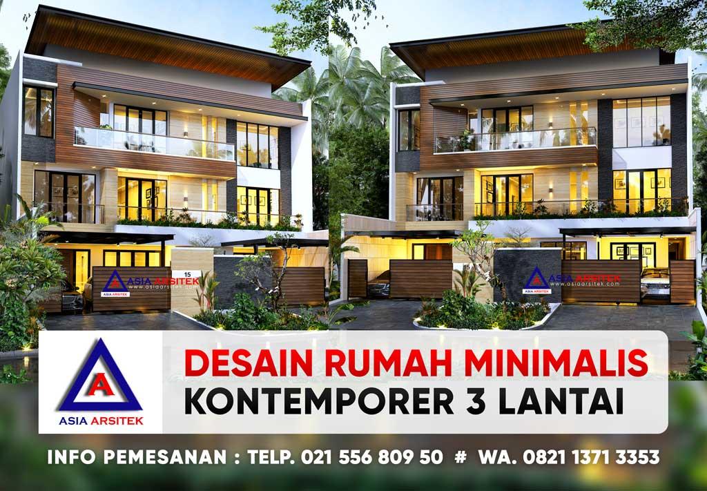Desain Rumah Mewah Minimalis Kontemporer 3 Lantai Lebar Tanah 17 M Panjang 30 M di Ancol Jakarta Utara