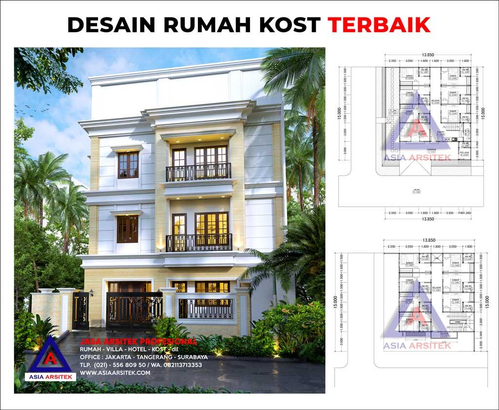 Desain Rumah Kost Mewah 3 Lantai 13 x 15 M di Serpong Utara Tangerang Selatan