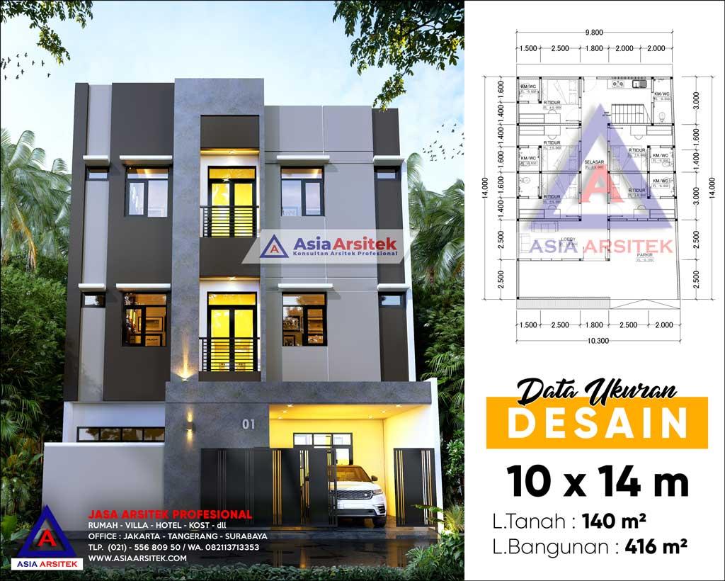 Jasa Arsitek Desain Rumah Kost Kosan 4 Lantai di Pademangan Jakarta Utara